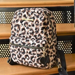NEW Betsey Johnson LEOPARD Heart Quilt Backpack